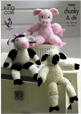 Farmyard Collection Toys in King Cole Cuddles Chunky and Dollymix DK - 7000