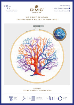 DMC Living Coral Cross Stitch Kit (with 7in hoop) - 7in