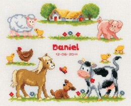 Vervaco At The Farm Birth Sampler Cross Stitch Kit