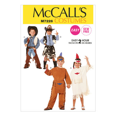 McCall's Children's, Boys' and Girls' Cowboys and Indians Costumes M7226 - Sewing Pattern
