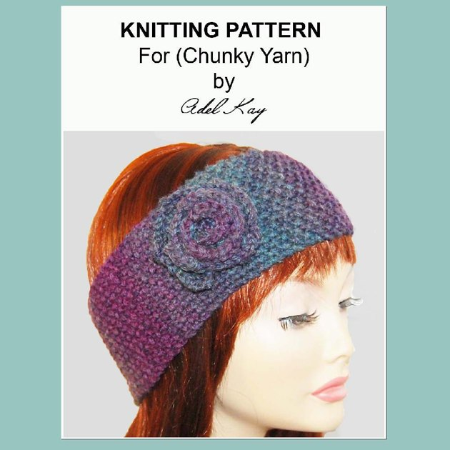 I Love This Yarn Knitting Patterns : Tracy Vintage Style Wide Corsage Head Wrap Head Band Chunky Yarn Knitting Pat...