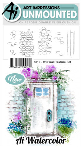 Art Impressions Watercolor Cling Rubber Stamps - Wall Texture