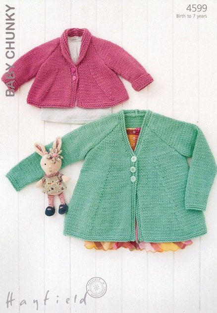 Chunky Knit Baby Cardigan Pattern Free : Cardigans in Hayfield Baby Chunky - 4599