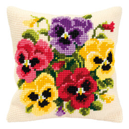 Vervaco Pansy Posy Cushion Front Chunky Cross Stitch Kit - 40cm x 40cm