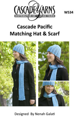 Matching Hat Scarf Cascade Pacific W534 Knitting Patterns