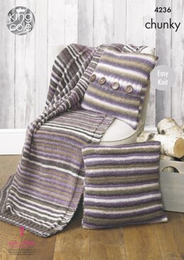 Blanket and Cushion Covers in King Cole Riot Chunky - 4236 - Downloadable PDF