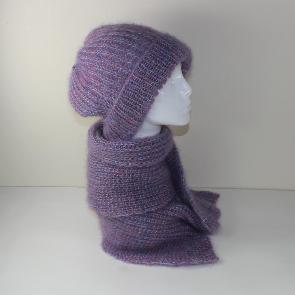 Angel Hat Knitting Pattern : Angel Fishermans Rib Slouch Hat and Scarf Knitting pattern ...