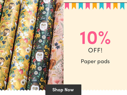 10 percent off paper pads!