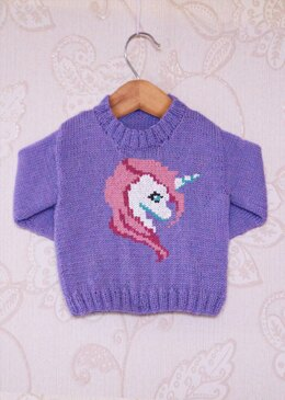 Intarsia - Blossom The Unicorn Chart - Childrens Sweater