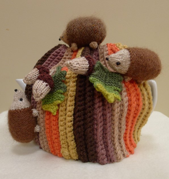 Hedgehog Slippers Knitting Pattern : Hedgehogs and Acorns Tea Cosy Knitting Crochet pattern by ...