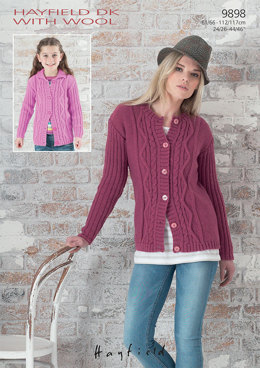 Round Neck and Collared Cardigan in Hayfield DK With Wool - 9898