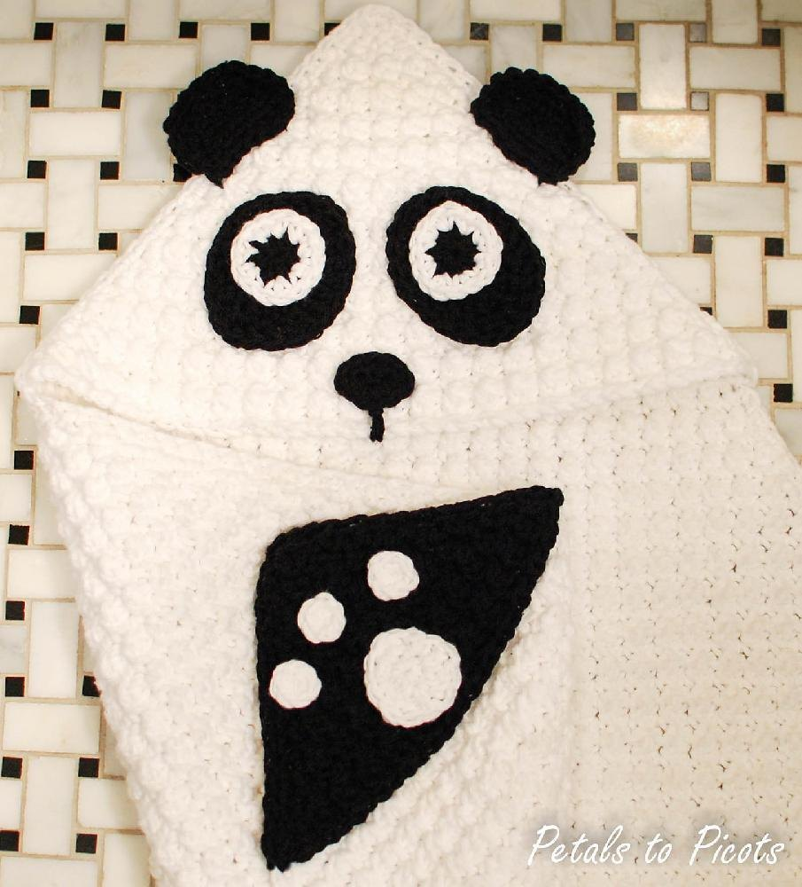 Panda Hooded Baby Towel With Attached Mitts Also Makes A Great