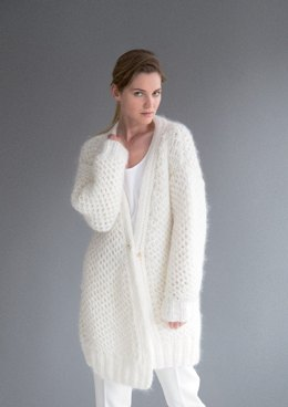Brioche Cardigan in Rico Fashion Big Mohair Super Chunky and Essentials Mohair - 385 - Leaflet