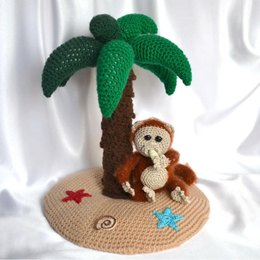 Palm tree and monkey amigurumi ornament