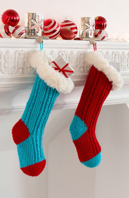 Fur Top Holiday Stockings in Red Heart Super Saver Economy Solids and Boutique Fur - LW4874 - Downloadable PDF