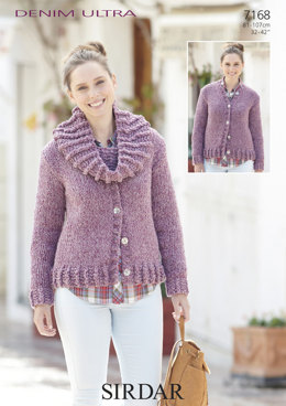 Round-Neck Cardigan with Matching Snood in Sirdar Denim Ultra Super Chunky - 7168