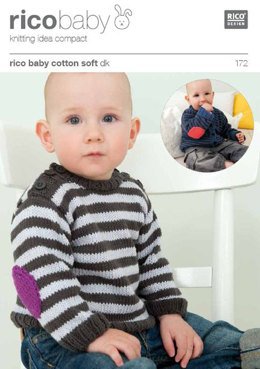 Striped Cardigan or Jumper with Elbow Patches in Rico Baby Cotton Soft DK  - 172