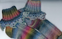 Lace Trimmed Socks in Crystal Palace Yarns Sausalito