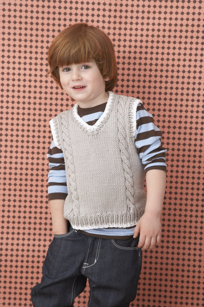 Cable Vest In Lion Brand Cotton Ease 70202a Knitting