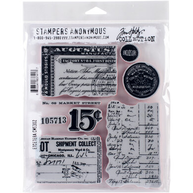 """Stampers Anonymous Tim Holtz Cling Stamps 7""""X8.5"""" - Etcetera"""