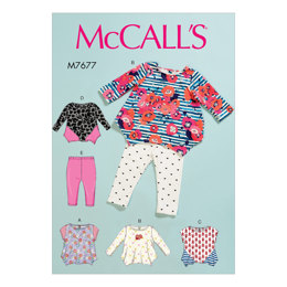 McCall's Infants Contrast Tops and Leggings M7677 - Sewing Pattern