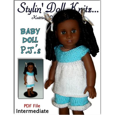 Baby Doll Pajamas American Girl Doll 18 Inch Knitting Pattern 104