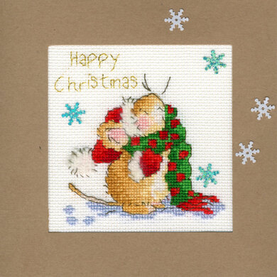Bothy Threads Counting Snowflakes Christmas Card Cross Stitch Kit - 10cm x 10cm