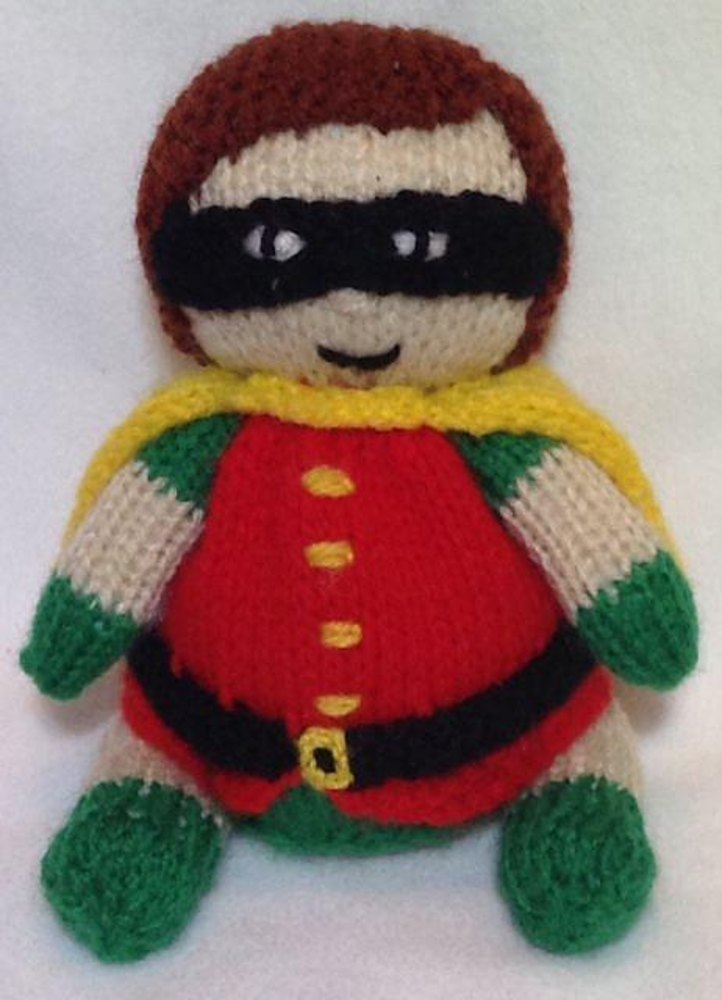 Robin from Batman Choc Orange Cover / Toy Knitting pattern by Andrew Lucas
