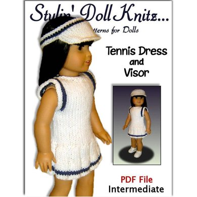 Tennis Dress knitting pattern, for American Girl and 18 inch 024