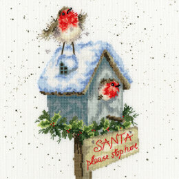 Bothy Threads Santa Please Stop Here Cross Stitch Kit - 26cm x 26cm