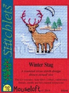 Mouseloft Christmas Card Stitchlet - Winter Stag Cross Stitch Kit