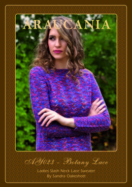 Ladies Slash Neck Lace Sweater in Araucania Botany