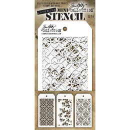 Stampers Anonymous Tim Holtz Mini Layered Stencil Set 3/Pkg - Set #4