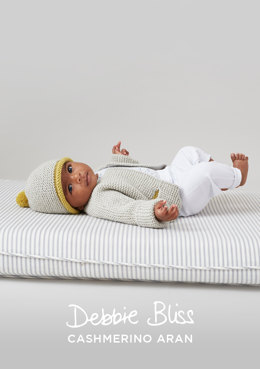 """Garter Stitch Jacket and Hat"" - Jacket Knitting Pattern For Babies in Debbie Bliss Cashmerino Aran"