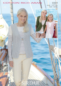 Waistcoat and Cardigans in Sirdar Cotton Rich Aran - 7277 - Downloadable PDF