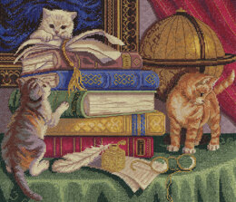 PANNA Kittens Among the Books Cross Stitch Kit - 34cm x 29cm