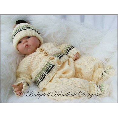 """Striped Squares Suit 16-22"""" doll/newborn/0-3m baby"""