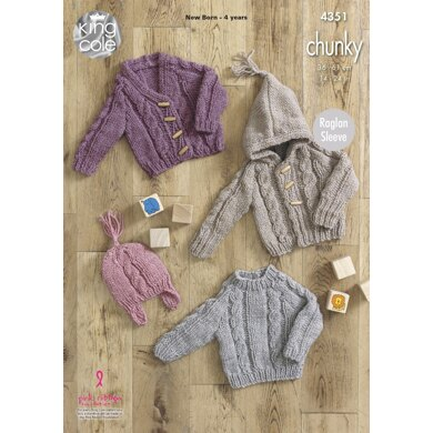 Sweater, Hooded Cardigan, V-Necked Cardigan And Hat in King Cole Chunky - 4351 - Downloadable PDF