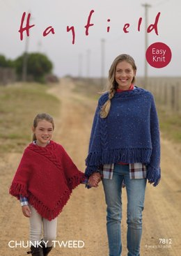 Ponchos in Hayfield Chunky Tweed - 7812- Downloadable PDF