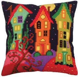 Collection D'Art Lodges Under the Moon Cross Stitch Cushion Kit - 40cm x 40cm