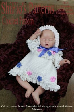 Crochet Pattern baby dress & hat UK & USA Terms # 135