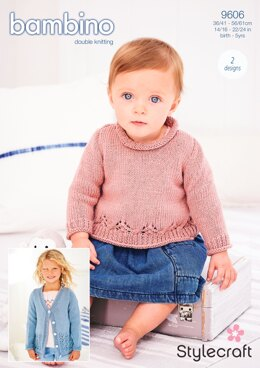 A-line Jumper and Cardigan in Stylecraft Bambino DK - 9606 - Downloadable PDF