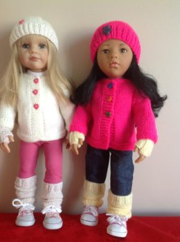 "Cosy cardigan and accessories for 18"" Dolls."