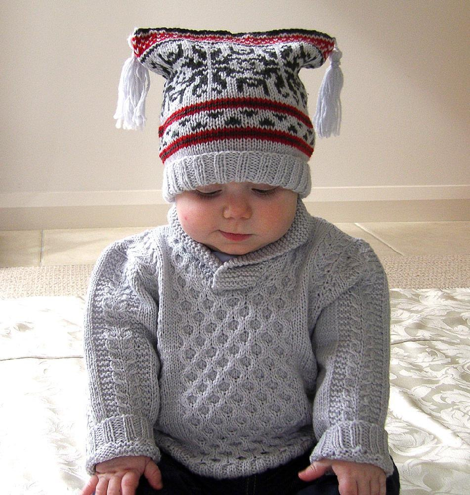 Baby Shawl Collar Knitting Pattern : Baby Sweater with Cables & Shawl Collar, plus Fair Isle Hat and Boots Kni...