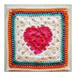 Crochet Square :: Granny Heart Square