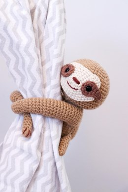 Sleepy sloth curtain tie back
