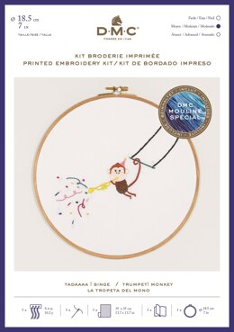 "DMC Trumpet! Monkey (printed fabric, 7"" hoop) Embroidery Kit -  35cm x 35cm - TB129"