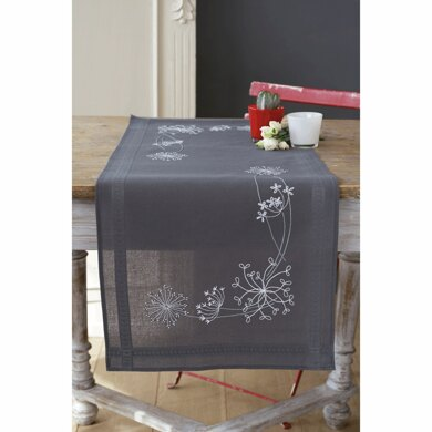 Vervaco White Flowers Embroidery Runner Kit - 16in x 40in (40cm x 100cm)