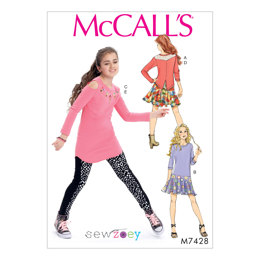 McCall's Girls' Back-Yoke Top, Drop-Waist Dress, Cold-Shoulder Tunic, Skirt and Leggings M7428 - Sewing Pattern