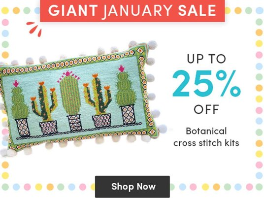 Up to 25 percent off botanical cross stitch kits!